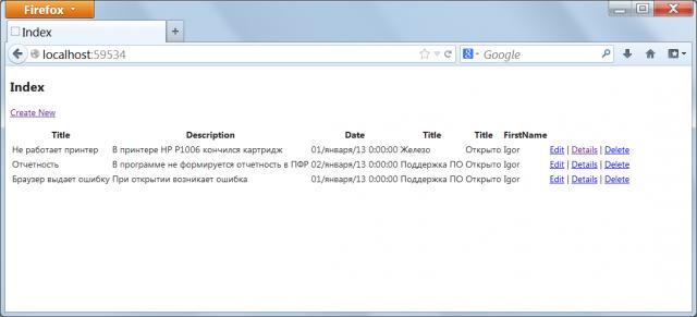 Багтрекер на ASP .NET MVC