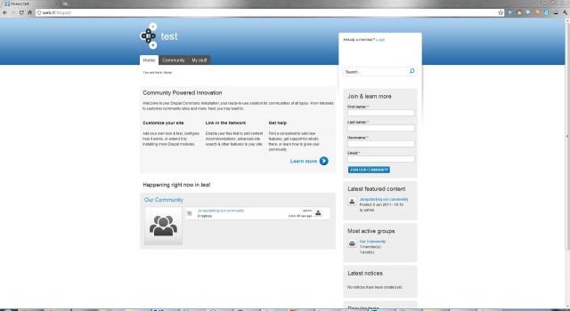 Drupal Commons сразу после установки