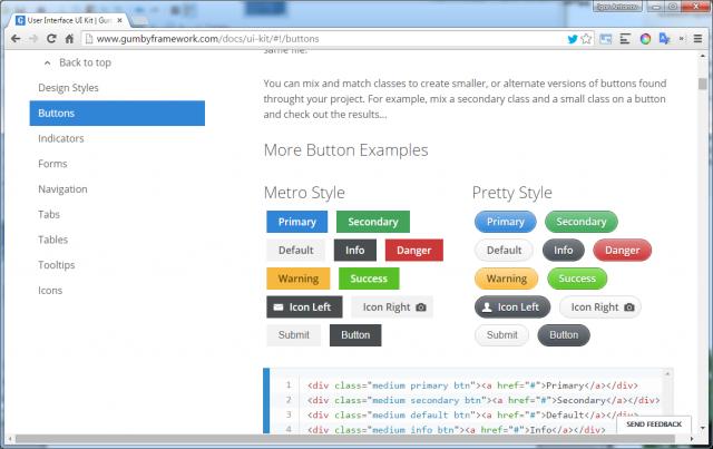 Рисунок 2. Набор UI компонент в Gumby