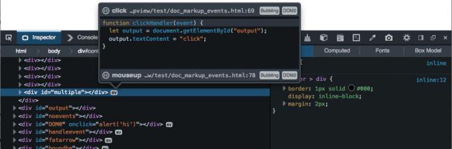 Просмотр событий в обновленной версии Firefox Developer Tools