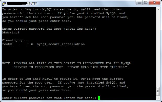 Запускаем сценарий для завершения установки mySQL в Debian 7