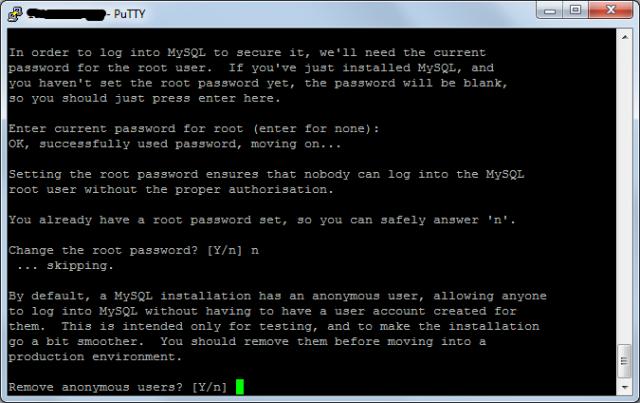 Завершение установки mySQL в Debian 7