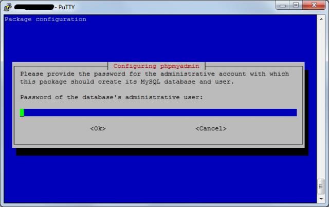 Задаем пароль для phpMyAdmin