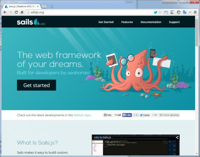 Рисунок 1. Официальный сайт sails.js