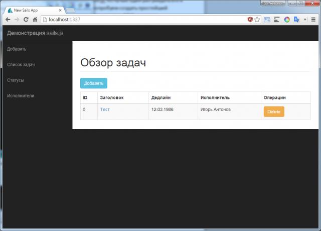 Рисунок 2. Готовое web-приложение на sails.js