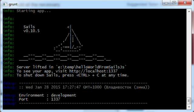 Запуск созданного проекта в sails.js